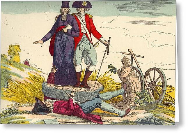 The French Farmer Crushed By Taxes Greeting Card by Vintage Design Pics