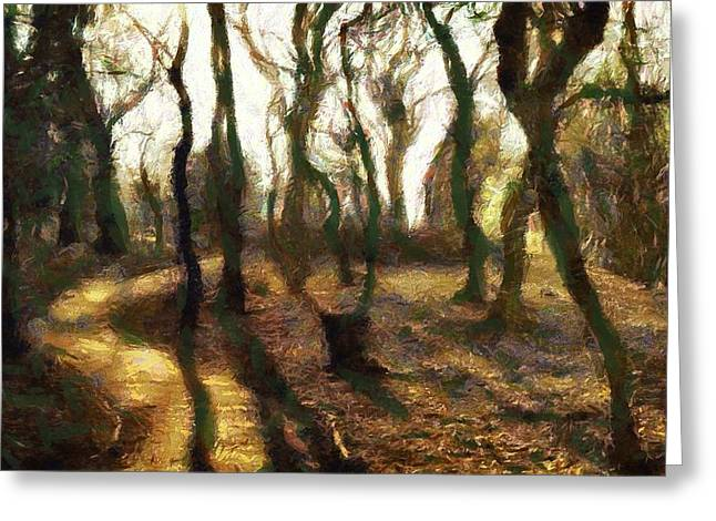Greeting Card featuring the digital art The Frightening Forest by Gun Legler