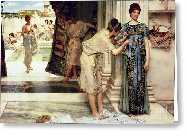 Dressing Greeting Cards - The Frigidarium Greeting Card by Sir Lawrence Alma-Tadema
