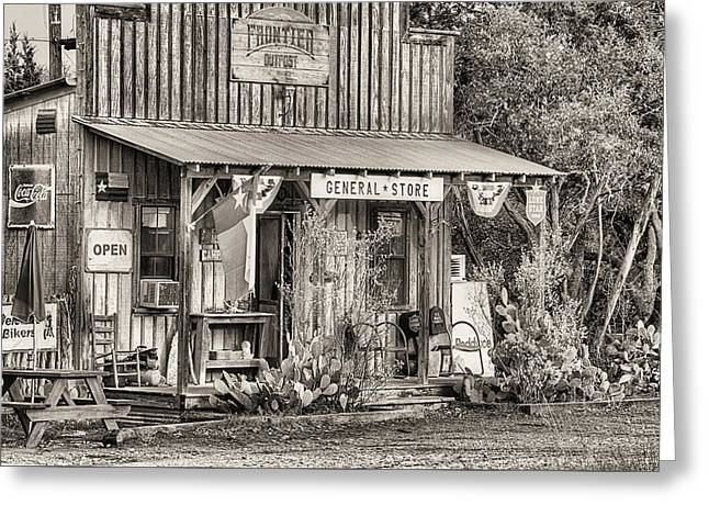 The Frontier Outpost General Store Black And White Greeting Card by JC Findley