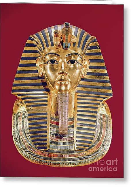 The Funerary Mask Of Tutankhamun Greeting Card by Egyptian School