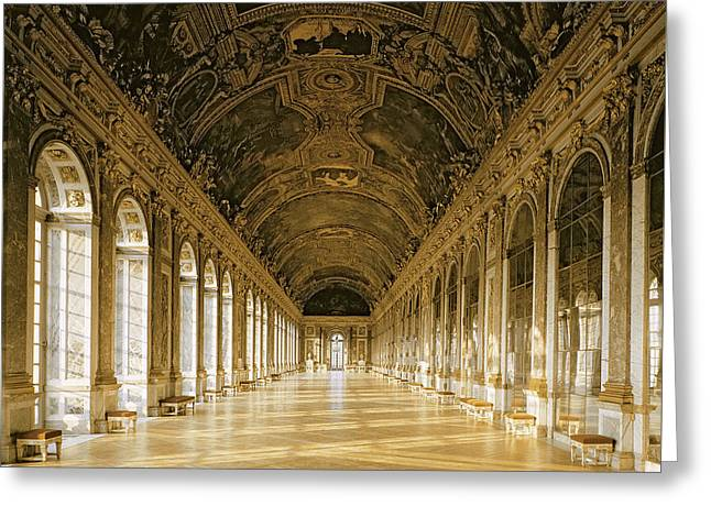 The Galerie Des Glaces  Hall Of Mirrors  Versailles Greeting Card by Jules Hardouin Mansart