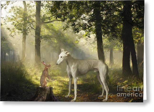The Galgo And The Hare Greeting Card