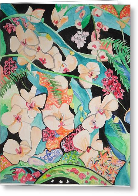 Greeting Card featuring the painting The Gallery Of Orchids 1 by Esther Newman-Cohen