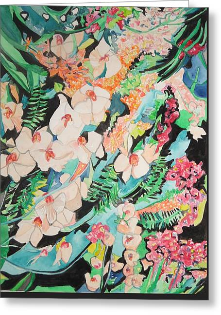 Greeting Card featuring the painting The Gallery Of Orchids 2 by Esther Newman-Cohen