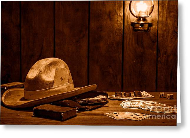 The Gambler Hat - Sepia Greeting Card by Olivier Le Queinec