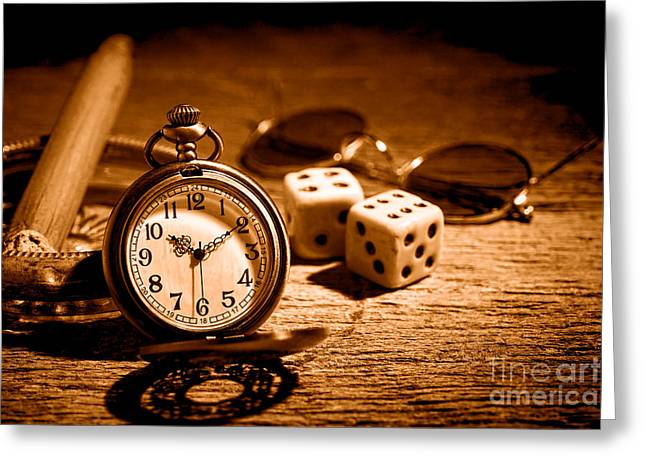 The Gambler's Watch - Sepia Greeting Card by Olivier Le Queinec