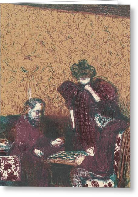 The Game Of Checkers, From The Series Landscapes And Interiors Greeting Card