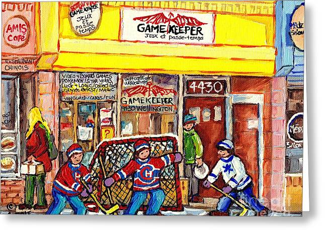 The Gamekeeper Verdun Montreal Art Shops And Store Front Painting Hockey Goalie Scene Carole Spandau Greeting Card by Carole Spandau