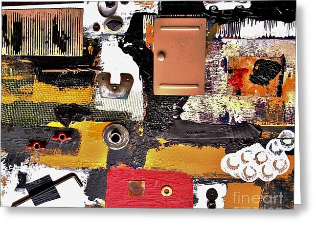 The Garage Collage Greeting Card by Marsha Heiken
