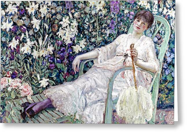 The Garden Chair Greeting Card by Frederick Carl Frieseke