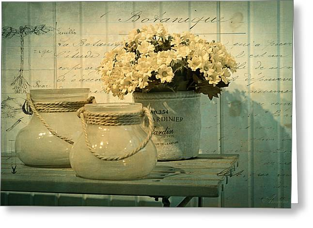 The Garden Corner Greeting Card by Maria Angelica Maira