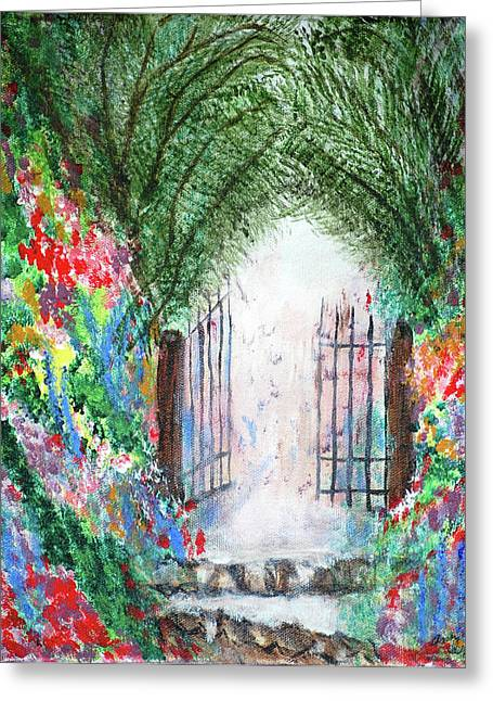 The Garden Gate Greeting Card by Ann Ingham