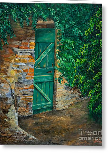 The Garden Gate In Cinque Terre Greeting Card by Charlotte Blanchard