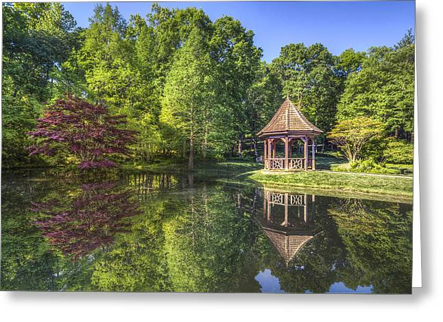 The Garden Gazebo Greeting Card by Debra and Dave Vanderlaan
