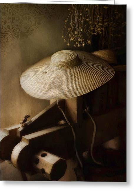 Greeting Card featuring the photograph The Garden Hat by Robin-Lee Vieira