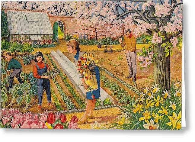 The Garden In Spring Greeting Card by English School