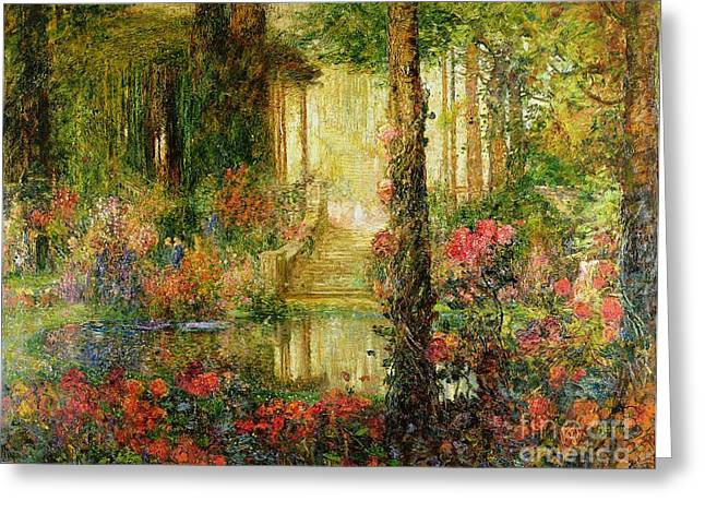 Vines Greeting Cards - The Garden of Enchantment Greeting Card by Thomas Edwin Mostyn
