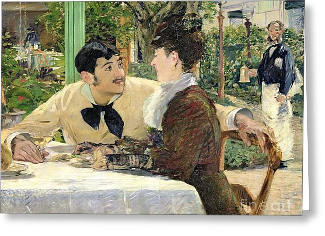 Dating Paintings Greeting Cards - The Garden of Pere Lathuille Greeting Card by Edouard Manet