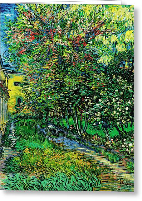 The Garden Of The Asylum At Saint-remy Greeting Card
