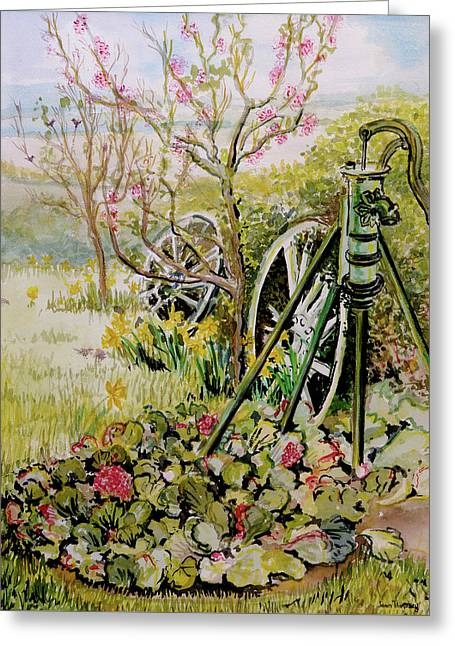 The Garden Pump Greeting Card by Joan Thewsey