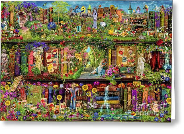 The Garden Shelf Greeting Card by Aimee Stewart