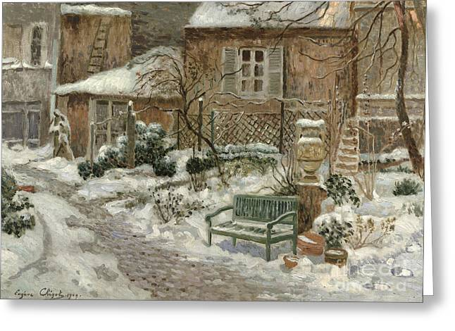 The Garden Under Snow Greeting Card by Eugene Chigot