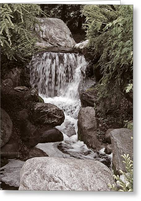 The Garden Waterfall Greeting Card by Garth Glazier