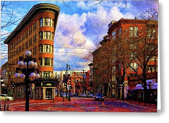 The Gastown Flat Iron Building Greeting Card by Julius Reque