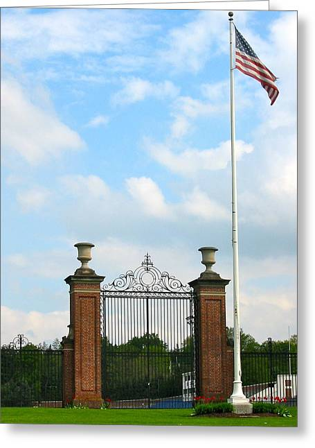 The Gate At Bucknell Greeting Card by Ronald Fleischer