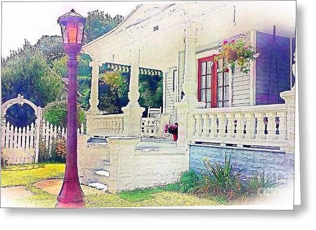 The Gate Porch And The Lamp Post Greeting Card