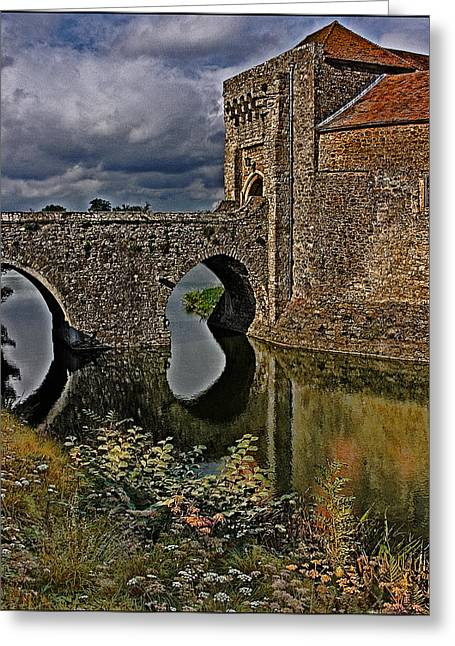 The Gatehouse And Moat At Leeds Castle Greeting Card
