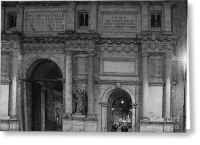 The Gates Of Rome Greeting Card by Al Bourassa