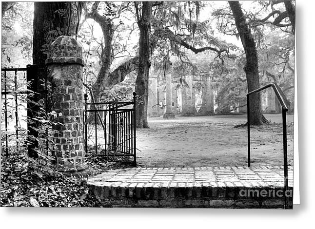 Old Churches Greeting Cards - The Gates of the Old Sheldon Church Greeting Card by Scott Hansen