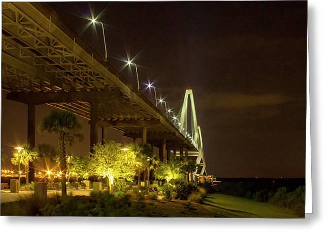 The Gateway Charleston Harbor Arthur Ravenel Jr Bridge Greeting Card by Reid Callaway