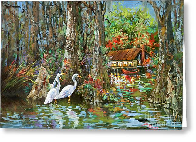 The Gathering - Louisiana Swamp Life Greeting Card by Dianne Parks