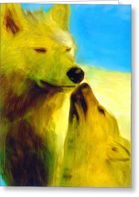 Greeting Card featuring the painting The Gathering by FeatherStone Studio Julie A Miller
