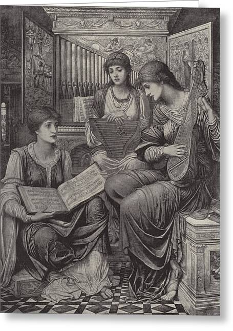 The Gentle Music Of The Bygone Day Greeting Card by John Melhuish Strudwick