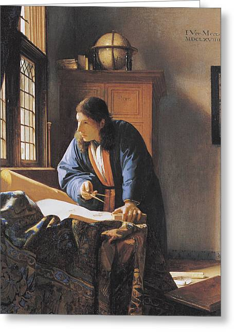 The Geographer, 17th Century Artwork Greeting Card