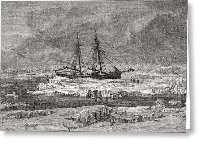 The Germania Stuck In The Pack Ice Greeting Card by Vintage Design Pics