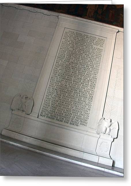 The Gettysburgh Address At The Lincoln Memorial Greeting Card by Cora Wandel