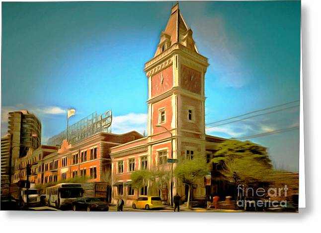 The Ghirardelli Chocolate Factory Clock Tower San Francisco Cali Greeting Card by Wingsdomain Art and Photography