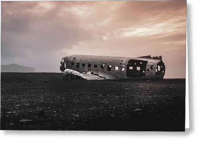 The Ghost - Plane Wreck In Iceland Greeting Card