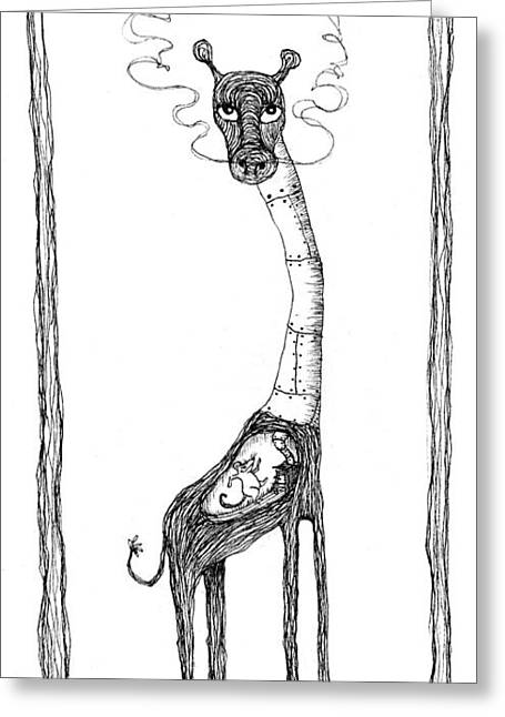 The Giraffe And The Rat Greeting Card by Zelde Grimm