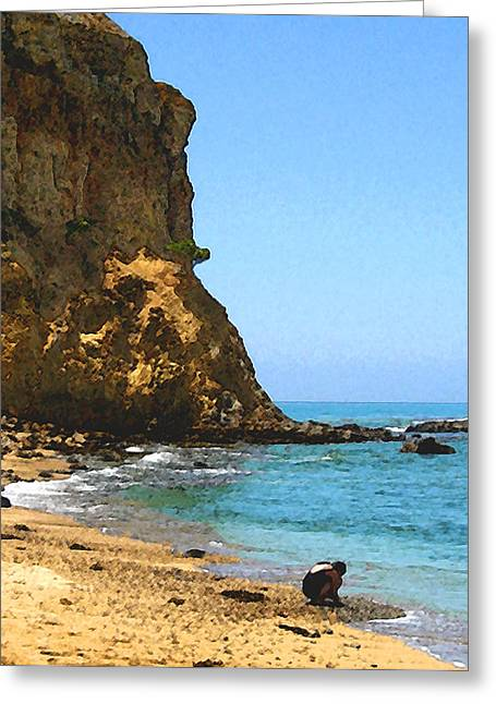 Greeting Card featuring the digital art The Girl At Abalone Cove by Timothy Bulone