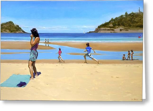 The Girl At La Concha Beach Greeting Card by Gordon Bell