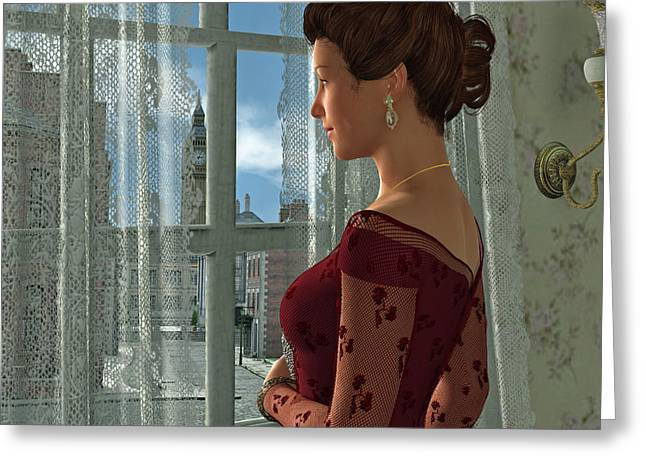 The Girl At The Window Greeting Card by Jayne Wilson