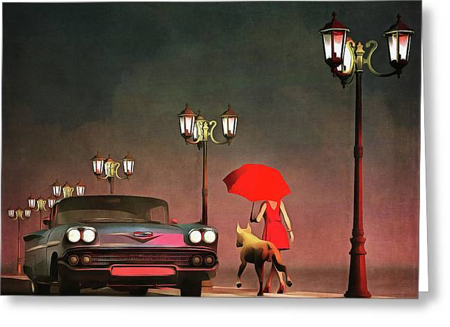 The Girl In Red Greeting Card