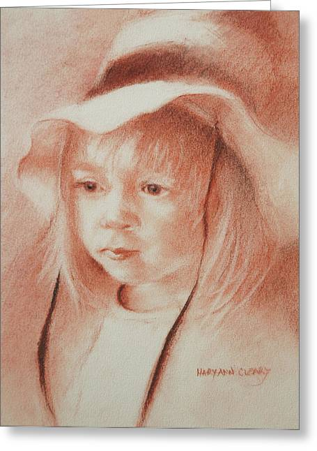 The Girl In The Hat Greeting Card by MaryAnn Cleary