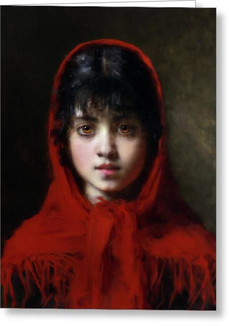 The Girl In The Red Shawl Greeting Card by Georgiana Romanovna